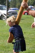 The junior, junior women's caber toss! Got to start them young!