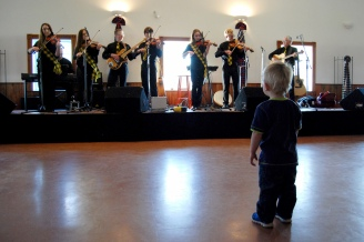 The MacLeod Fiddlers and fan!