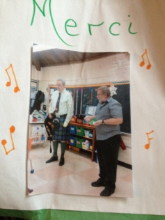 From a thank you card, here is myself and Erin Blair of Maxville. We were giving a we talk and demonstration to a young class about traditional music in Canada.