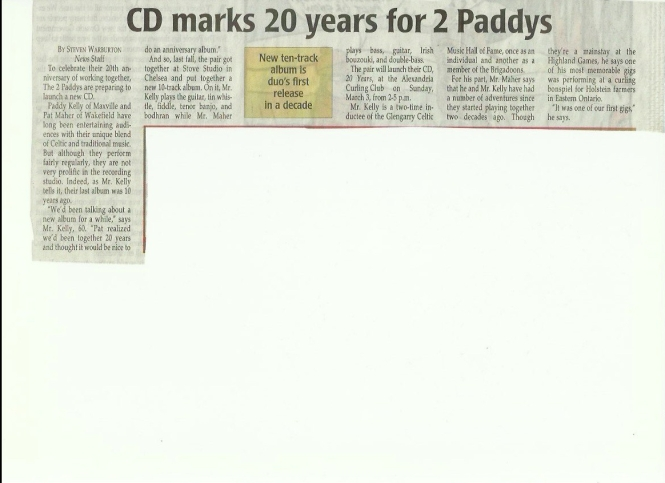 The2Paddy's CD Glengarry News 1